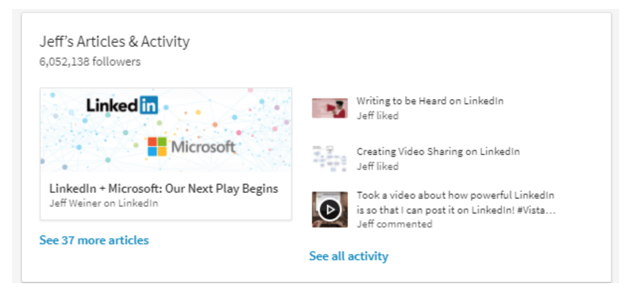recent updates LinkedIn